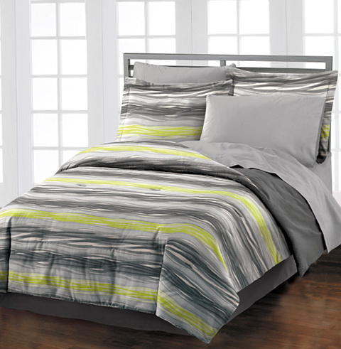 Grey And Lime Green Bedding