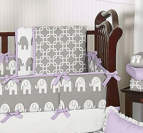 Grey Elephant Crib Bedding