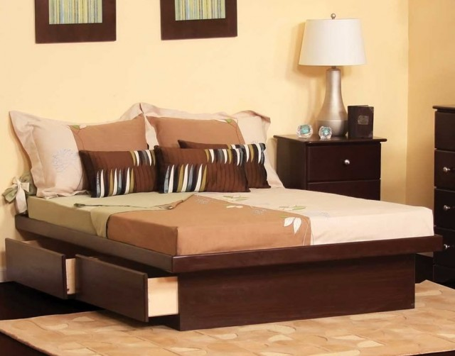 King Platform Bed Frame With Drawers