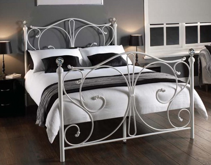 Metal Bed Frames Crystal Knobs