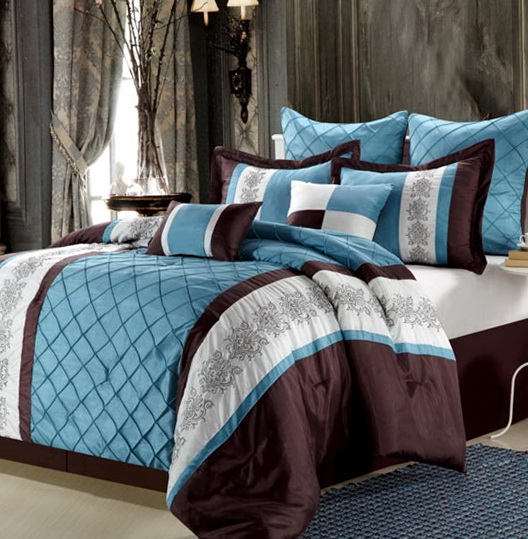 Navy Blue And Brown Bedding