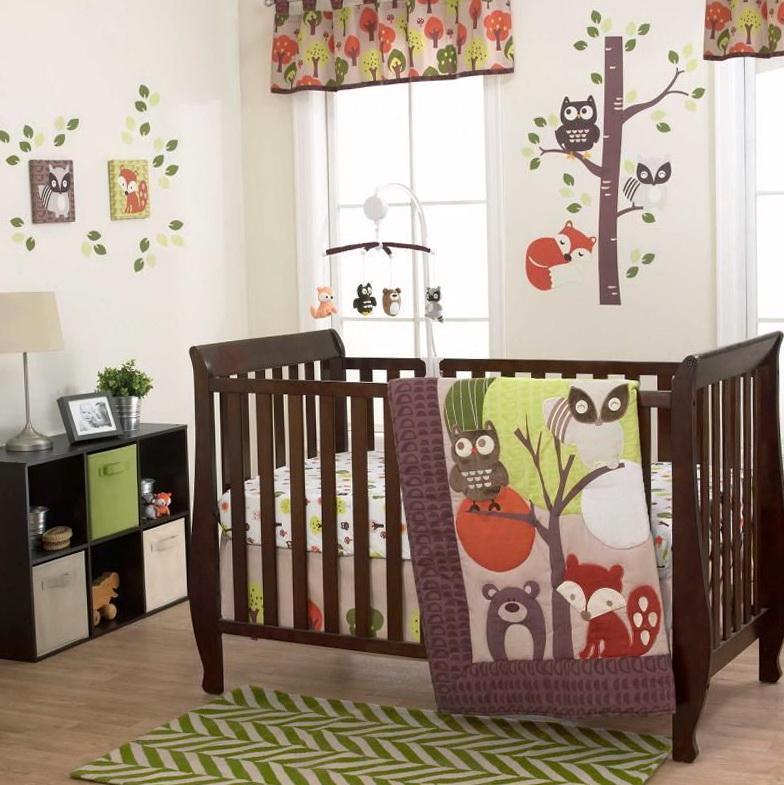 Neutral Owl Crib Bedding