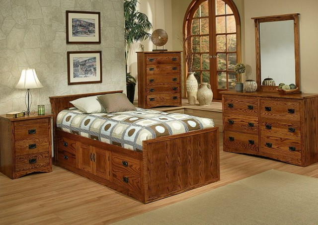 Oak Twin Bed With Drawers