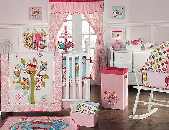 Owl Crib Bedding Girl
