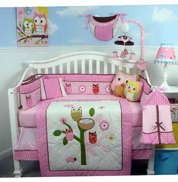 Owl Girl Crib Bedding
