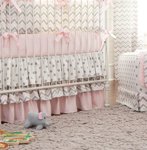 Pink And Gray Chevron Crib Bedding