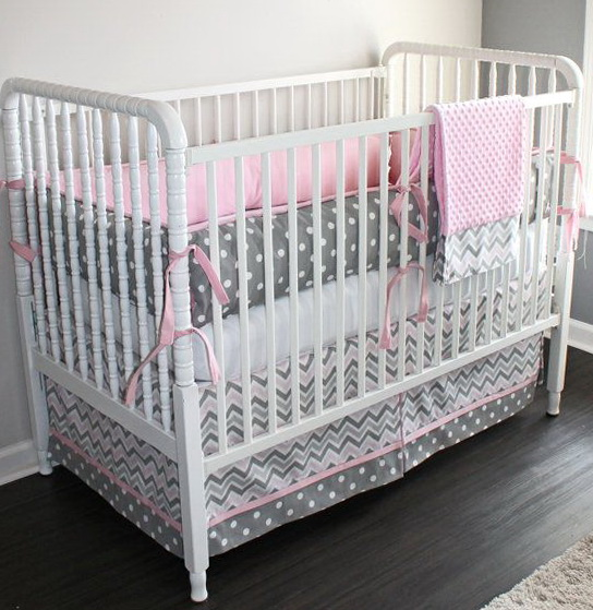 Pink Chevron Crib Bedding