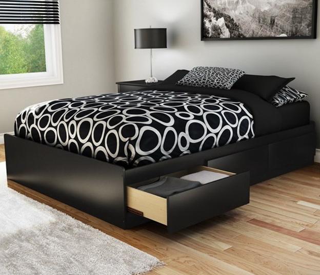Platform Bed With Storage Headboard