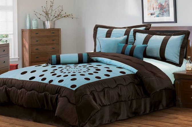 Teal Blue And Brown Bedding