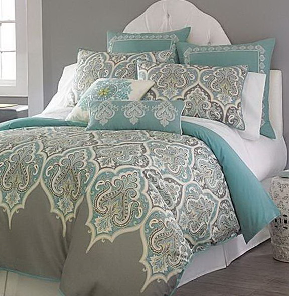 Turquoise Grey And White Bedding