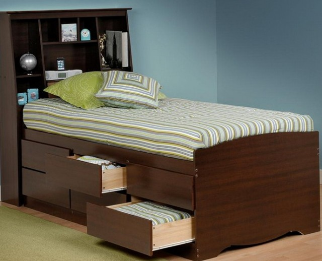 Twin Bed With Storage Headboard