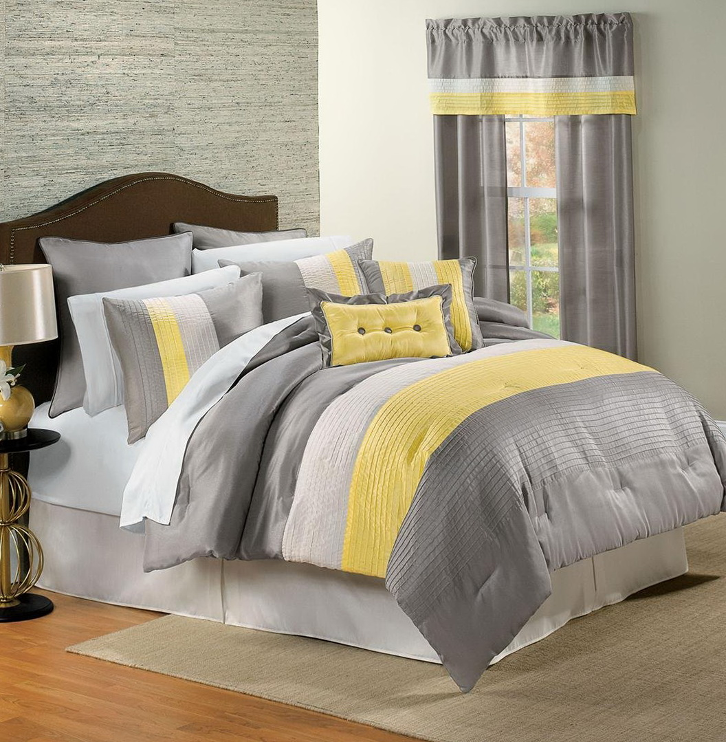 White Grey And Yellow Bedding