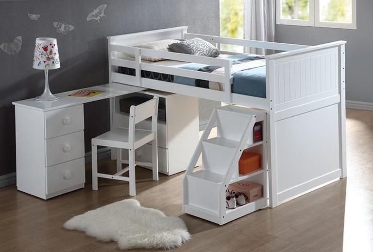 White Loft Bed With Dresser