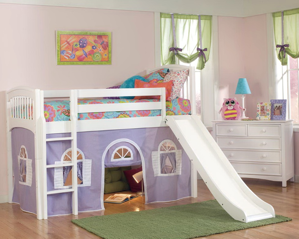 White Loft Bed With Slide