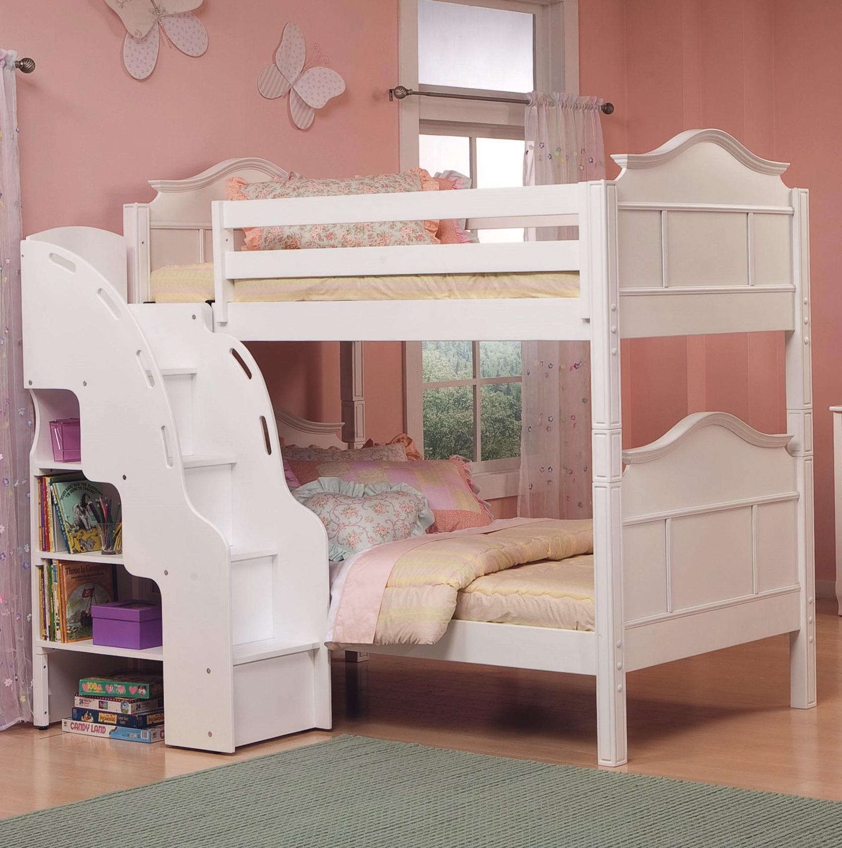 White Loft Bed With Storage