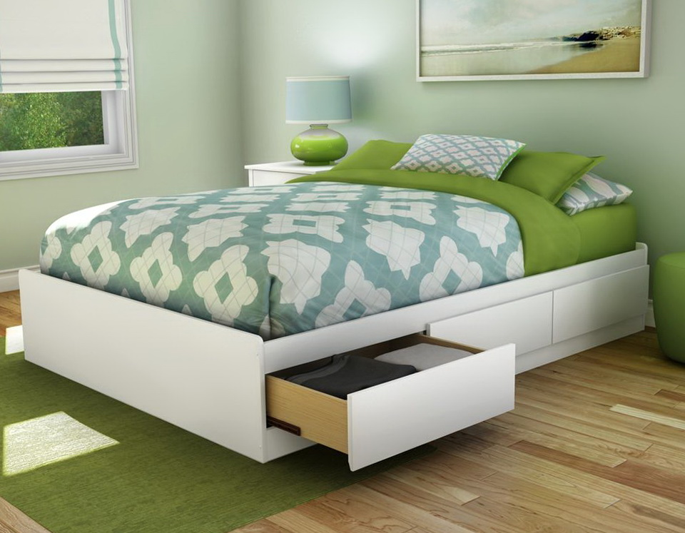 White Queen Bed With Storage Drawers