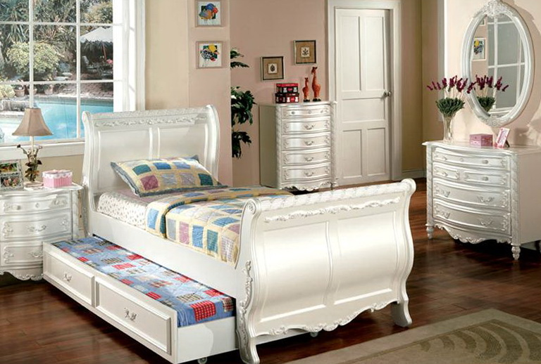 White Twin Captains Bed