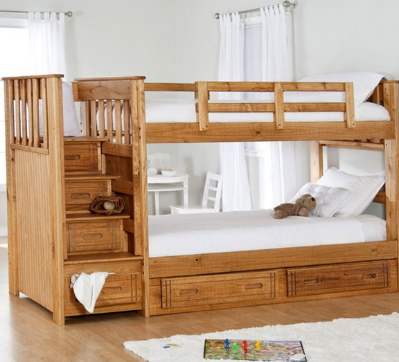 Wooden Bunk Beds With Storage