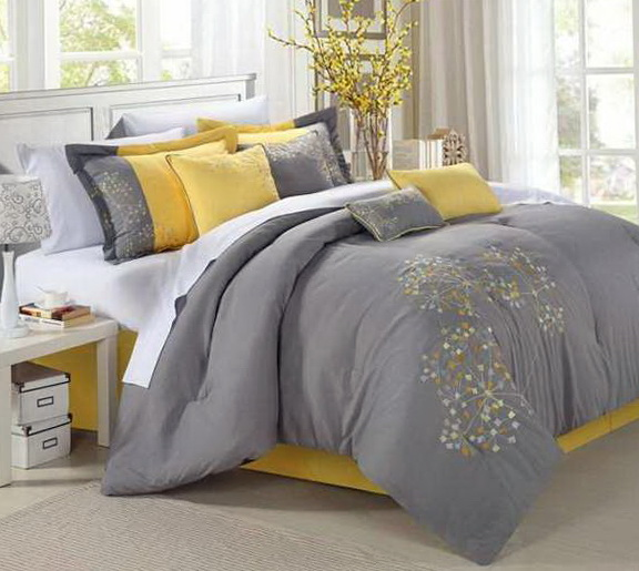 Yellow And Grey Bedding Twin