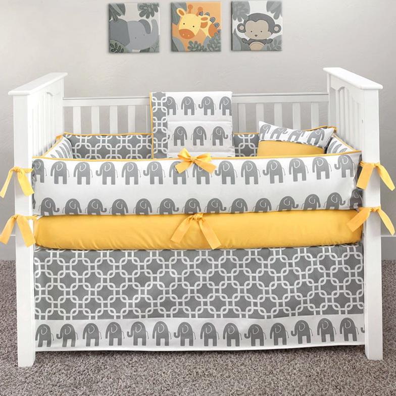 Yellow And Grey Elephant Crib Bedding