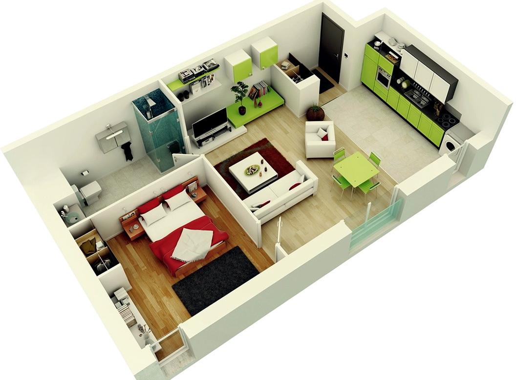 1 Bedroom Apartments Plan