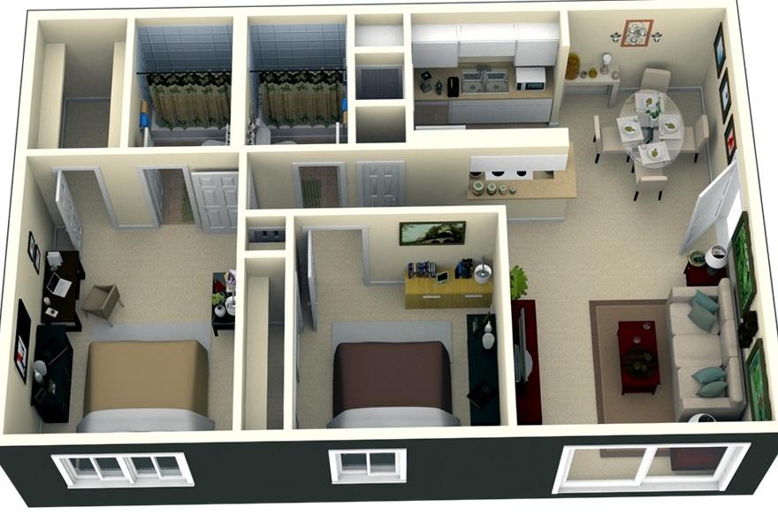 2 Bedroom Apartments Design