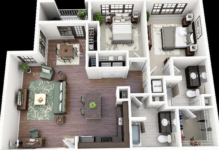 2 Bedroom Apartments Floor Plans