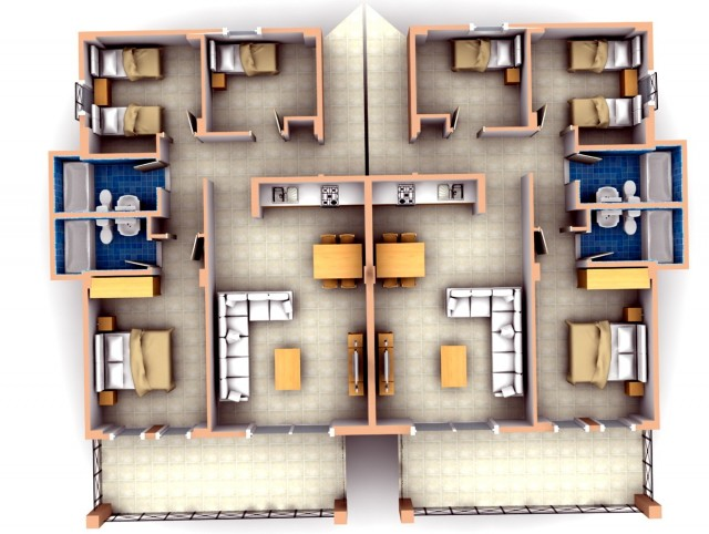 3 Bedroom Apartments Plans