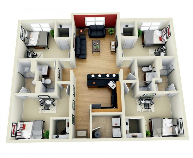 4 Bedroom House Plans 3d