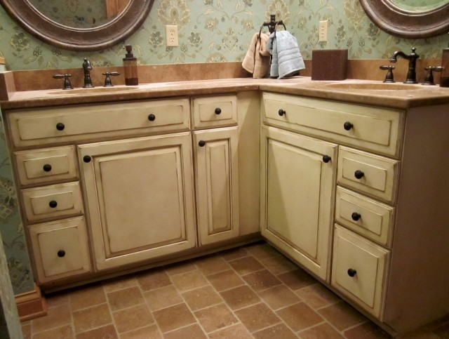 Antique White Cabinets With Chocolate Glaze