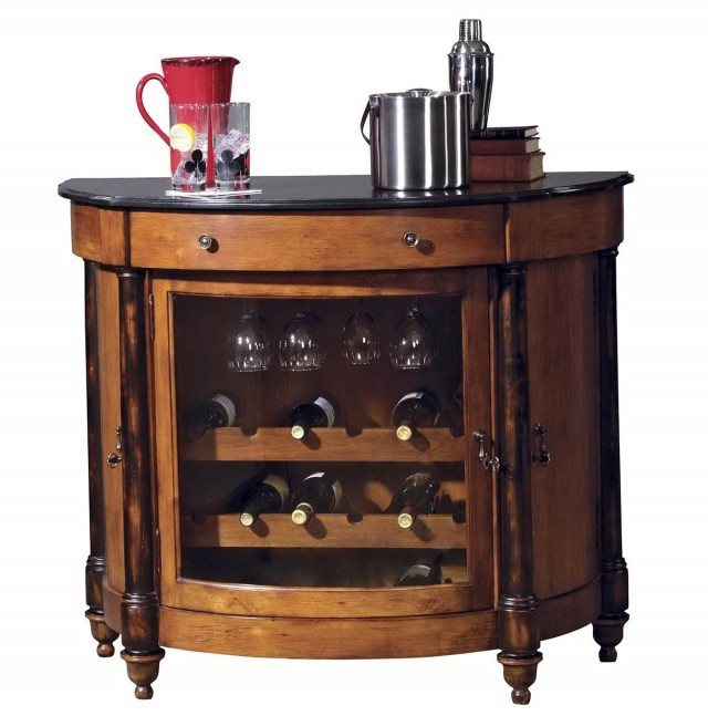 Bar With Locking Liquor Cabinet