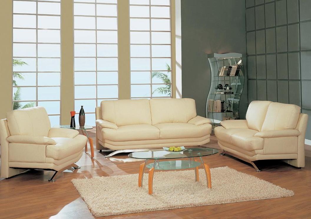 Beige Leather Living Room Set