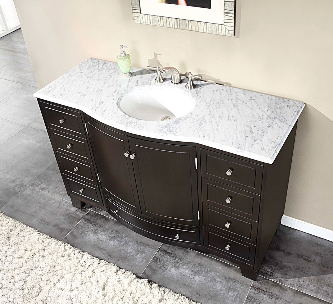 Black Bathroom Vanity With White Marble Top