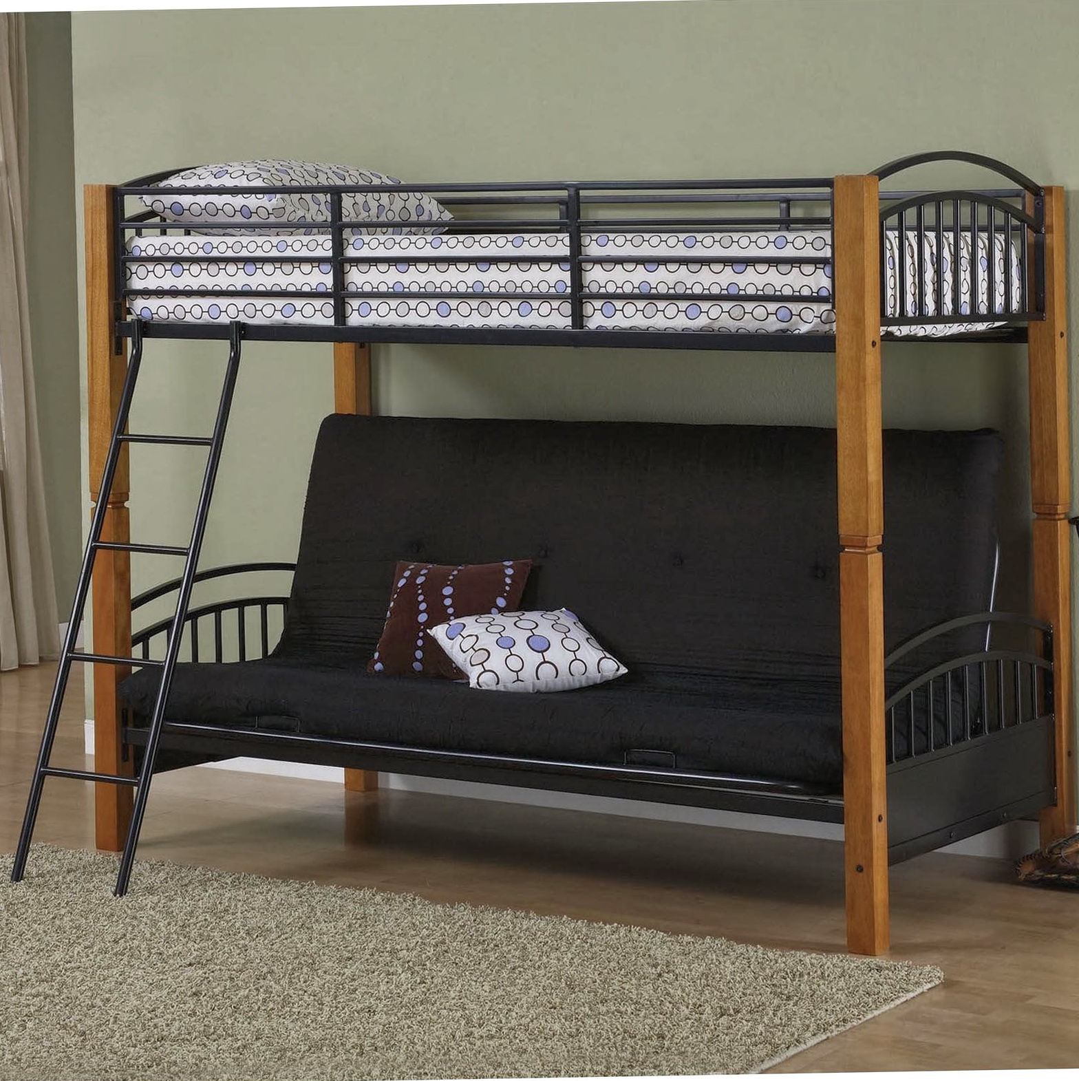 Black Bunk Bed With Futon