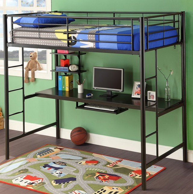 Black Metal Loft Bed With Desk Underneath
