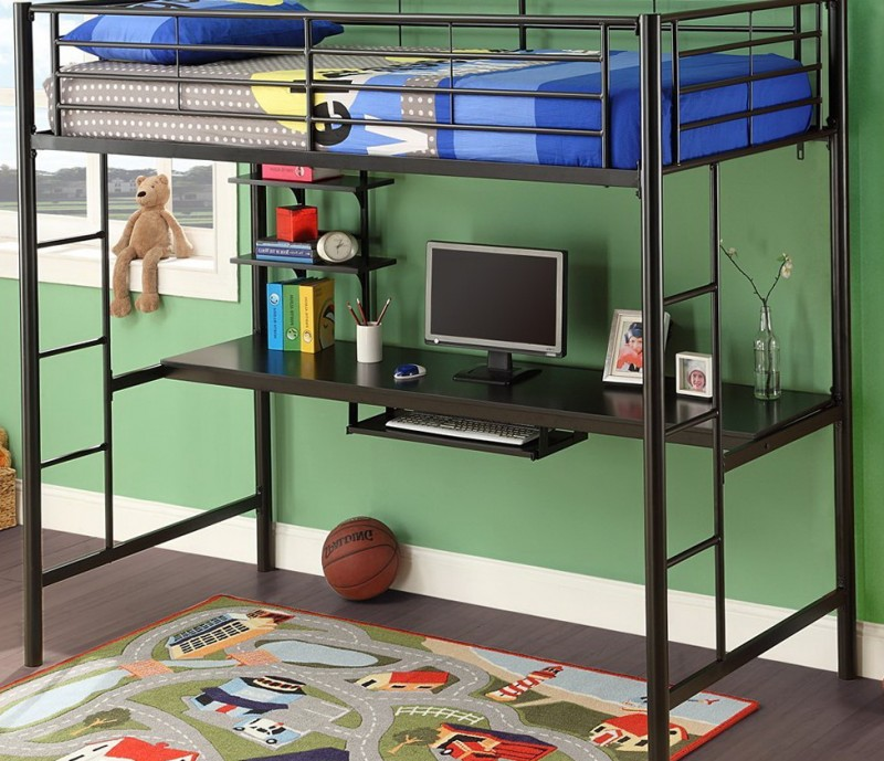 Black Metal Loft Bed With Desk Underneath