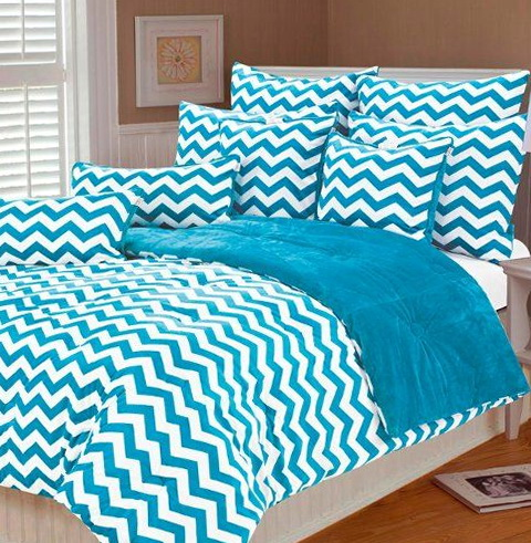 Blue Chevron Bedding Setblue Chevron Bedding Set