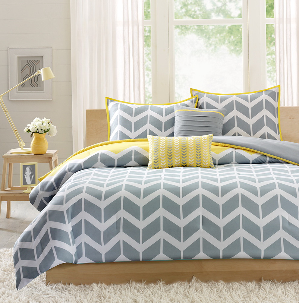 Blue Grey And Yellow Bedding