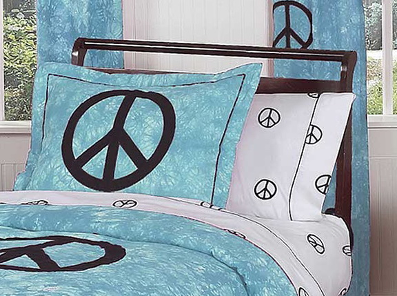 Blue Peace Sign Bedding