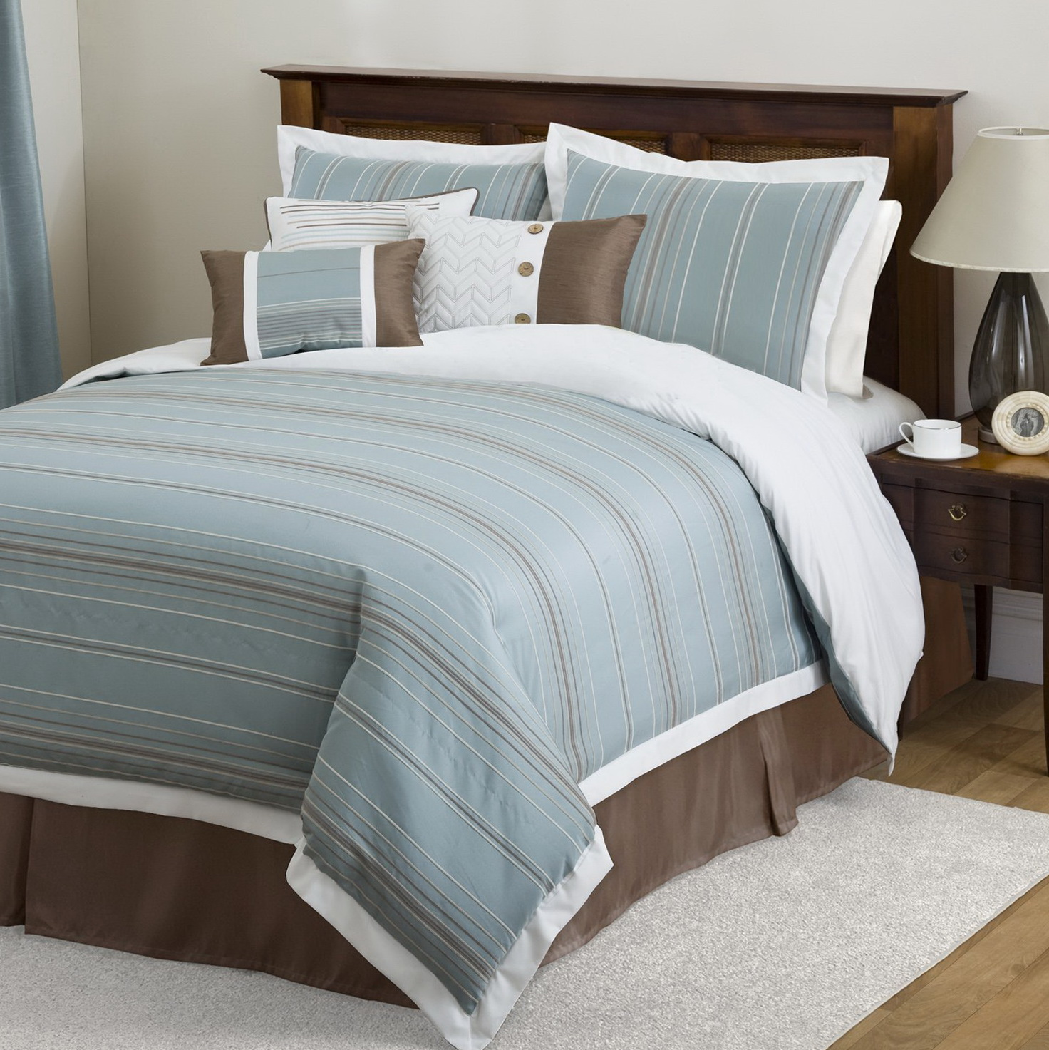 Brown And Blue Bedding Set