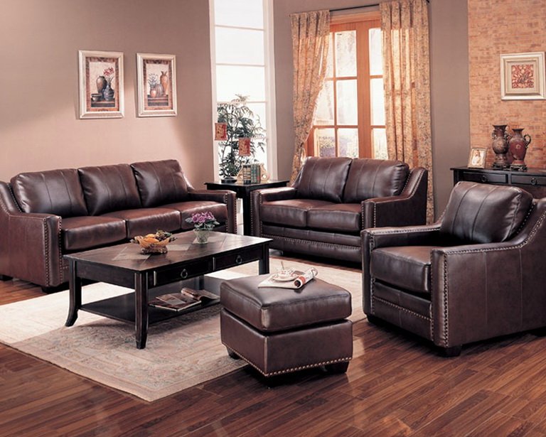 Brown Leather Living Room Sets