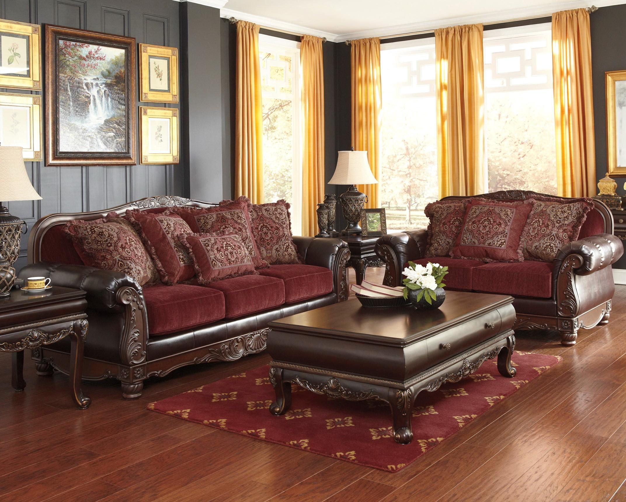 Burgundy Leather Living Room Set