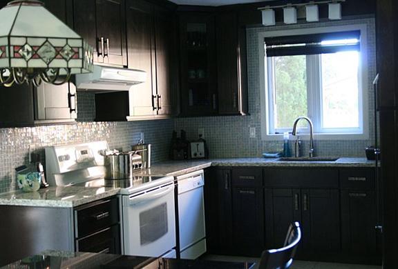 Dark Kitchen Cabinets With White Appliances