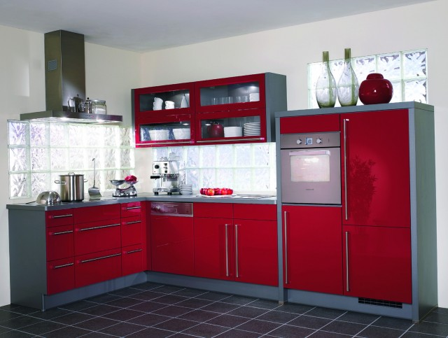 Distressed Red Kitchen Cabinets