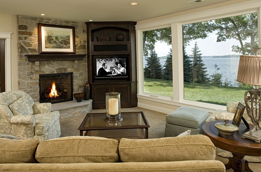 Family Room Ideas With Tv And Corner Fireplace