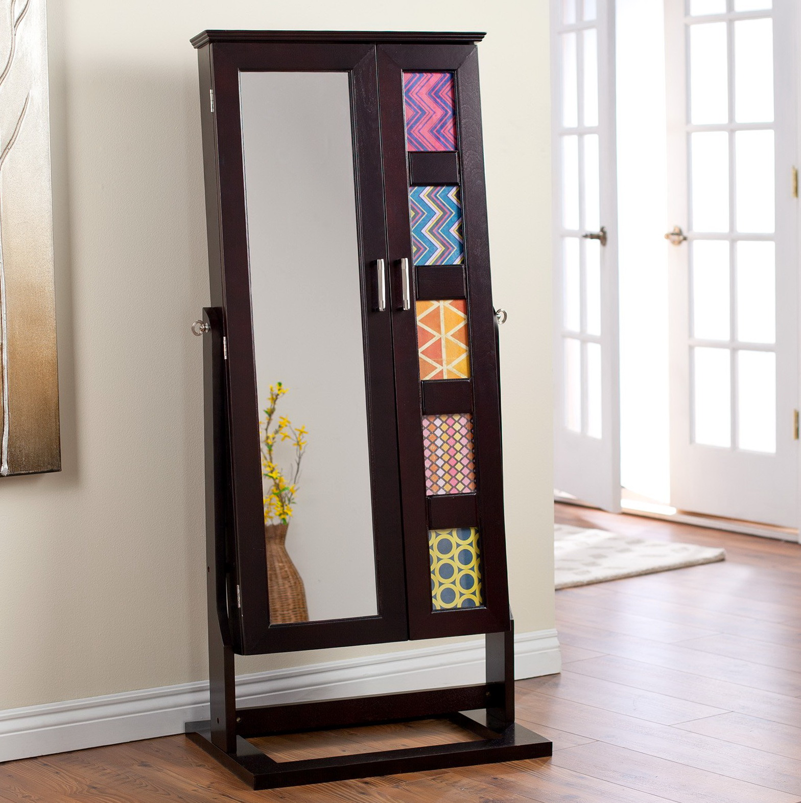 Free Standing Mirror Jewelry Cabinet