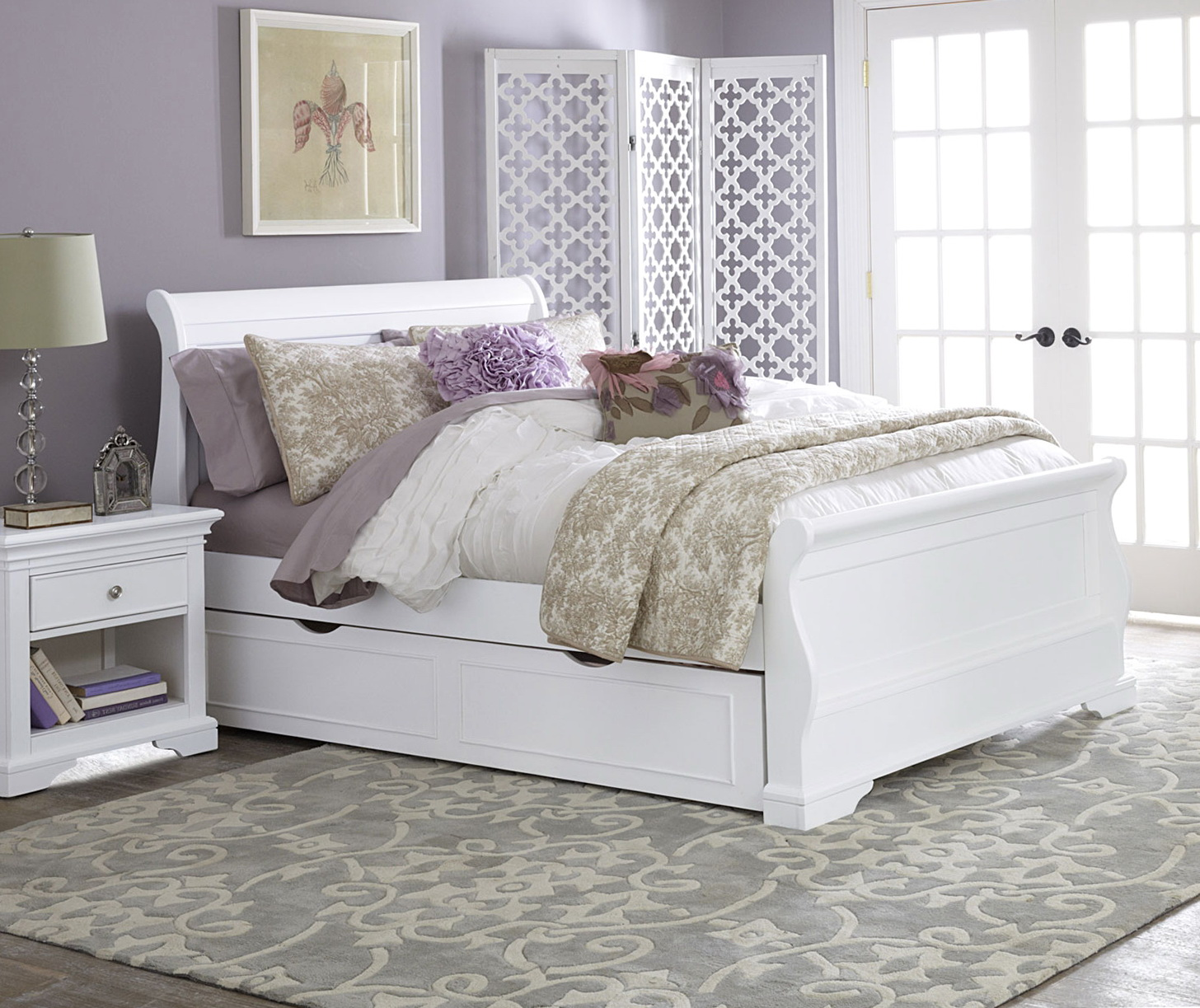 Full Size Bed With Trundle White
