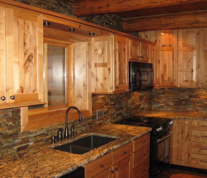 Granite Countertops With Knotty Alder Cabinets