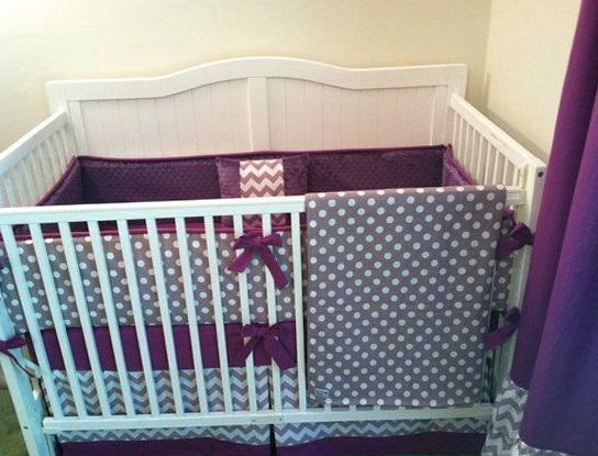 Gray And Purple Crib Bedding