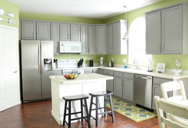 Gray Kitchen Cabinets Green Walls